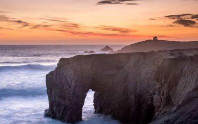 arche de port blanc coucher de soleil